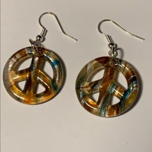 NEW Glass peace earrings in orange and blue